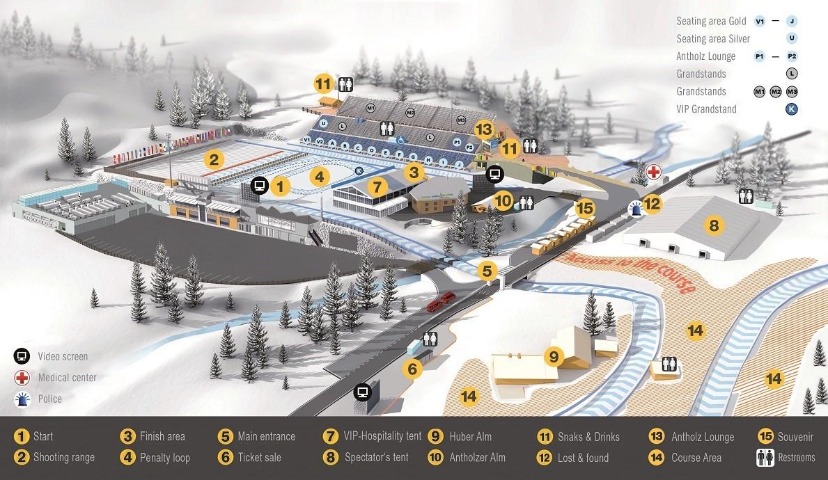 Biathlon Antholz Stadionplan